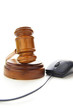court gavel and computer mouse, on white
