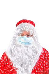 santa claus in flu mask