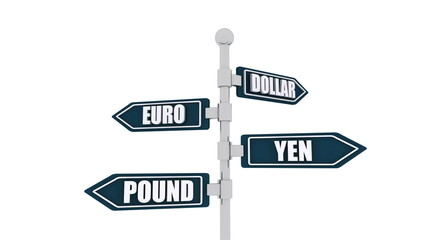 Currencies direction sign isolated