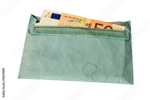 money in envelope, isolated on white