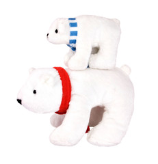 Two white toys polar bears - mother and son, isolated