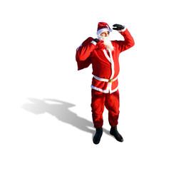 Weihnachtsmann schaut in die Ferne