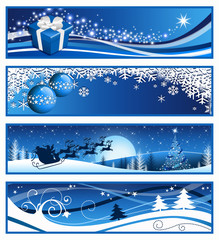 Four blue Christmas banners