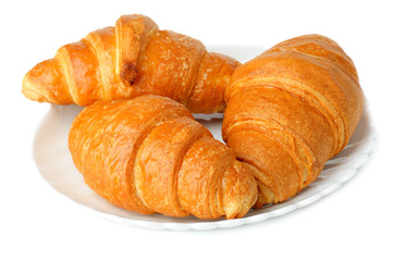 Croissants on white background.