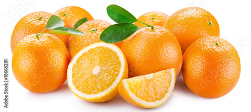 Oranges with segments on a white background