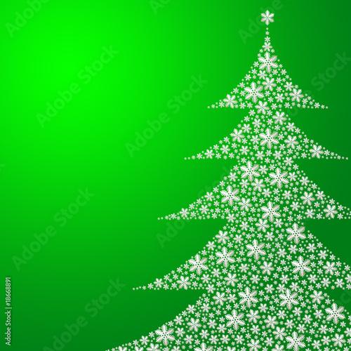 Leinwandbild Motiv Schneeflocken in Form eines Tannenbaums