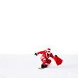 Weihnachtsmann unterwegs mit Snowboard