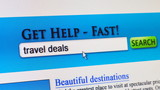 Travel deals - fictional search engine poster