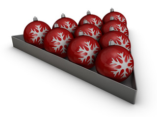 Red decoration balls with snowflakes