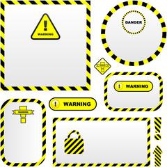 Warning vector banner. Vector template.