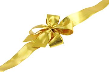 ruban doré emballage cadeau diagonale fond blanc