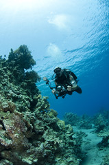 man diving with profesional camera