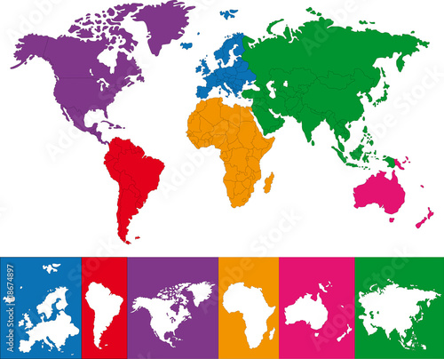 Color map of the World with continent borders
