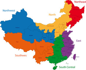 Color map of the regions and divisions of China