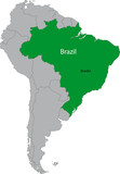 Location of Brazil on the South America continent poster