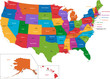 Colorful USA map with states and capital cities