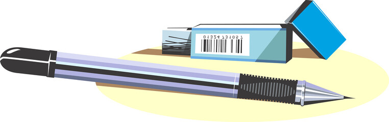 Illustration of a cutter sharpened pencil an cutter