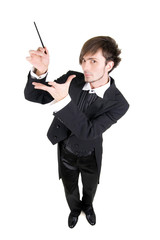 A man in a tailcoat is showing his stick, top view, isolated.