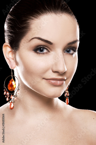 Beautiful woman wearing earrings