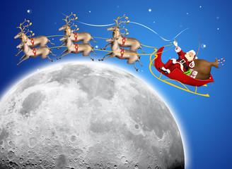 Santa Claus in his deer sled