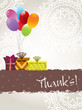 abstract background with gifts ballons and thankyou text