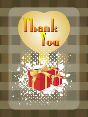 abstract pattern background with gifts and thankyou text