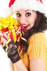 Fun santa woman with christmas gift