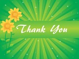 floral background with thankyou text