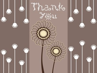 brown background with thankyou text and florals