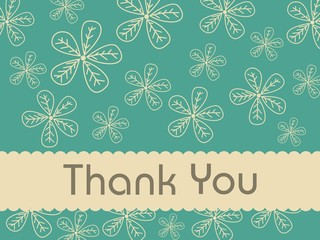 florals background with thankyou text