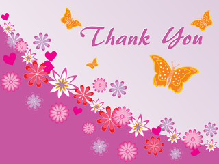 florals background with thankyou text and butterflies