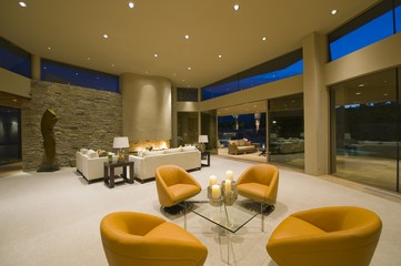 Modern armchairs in Palm Springs living interior