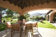 Sunlit veranda of Palm Springs hacienda