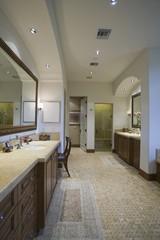 Palm Springs bathroom with mosaic tiled floor