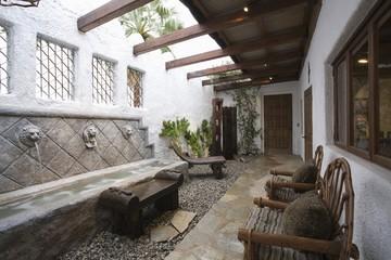 Palm Springs hacienda, water feature