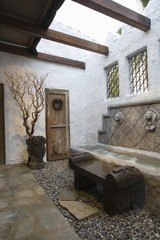Palm Springs hacienda, water feature