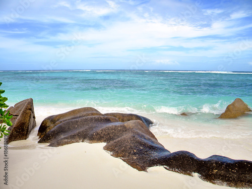 Africa, Seychelles, La digue island, anse Source Argent beach