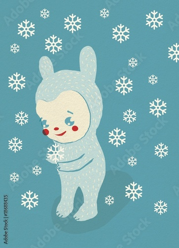 Cartoon creature stands in winter snow