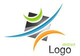 Logo carré arcs gris vert bleu orange