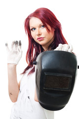 Woman in dirty gloves hold welder