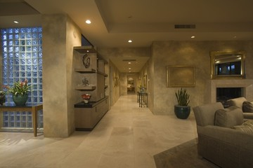 Marble floored hallway with glass bricks, Palm Springs
