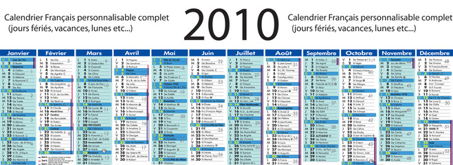 Calendrier 2010 complet personnalisable