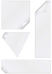 Vector set of unprinted stickers with peeled corner