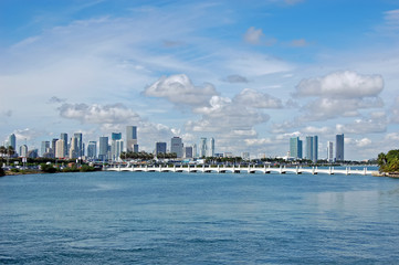 Miami Skyline and Bridge to Starr Island
