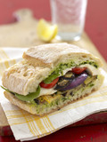 grilled vegetables sandwich with basil and parmesan cheese