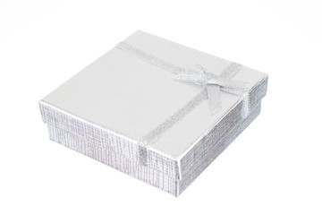 silver gift box isolated