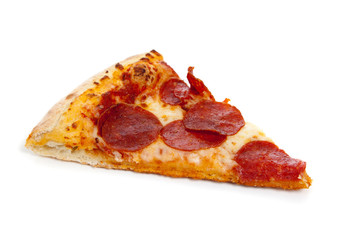 A slice of Pepperoni pizza on white
