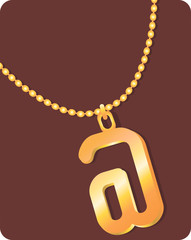 Illustration of necklace with golden internet symbol locket
