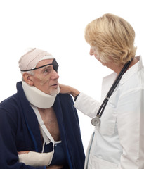 Doctor comforting injured old man