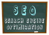 SEO Search Engine Optimization - Words on Chalkboard poster